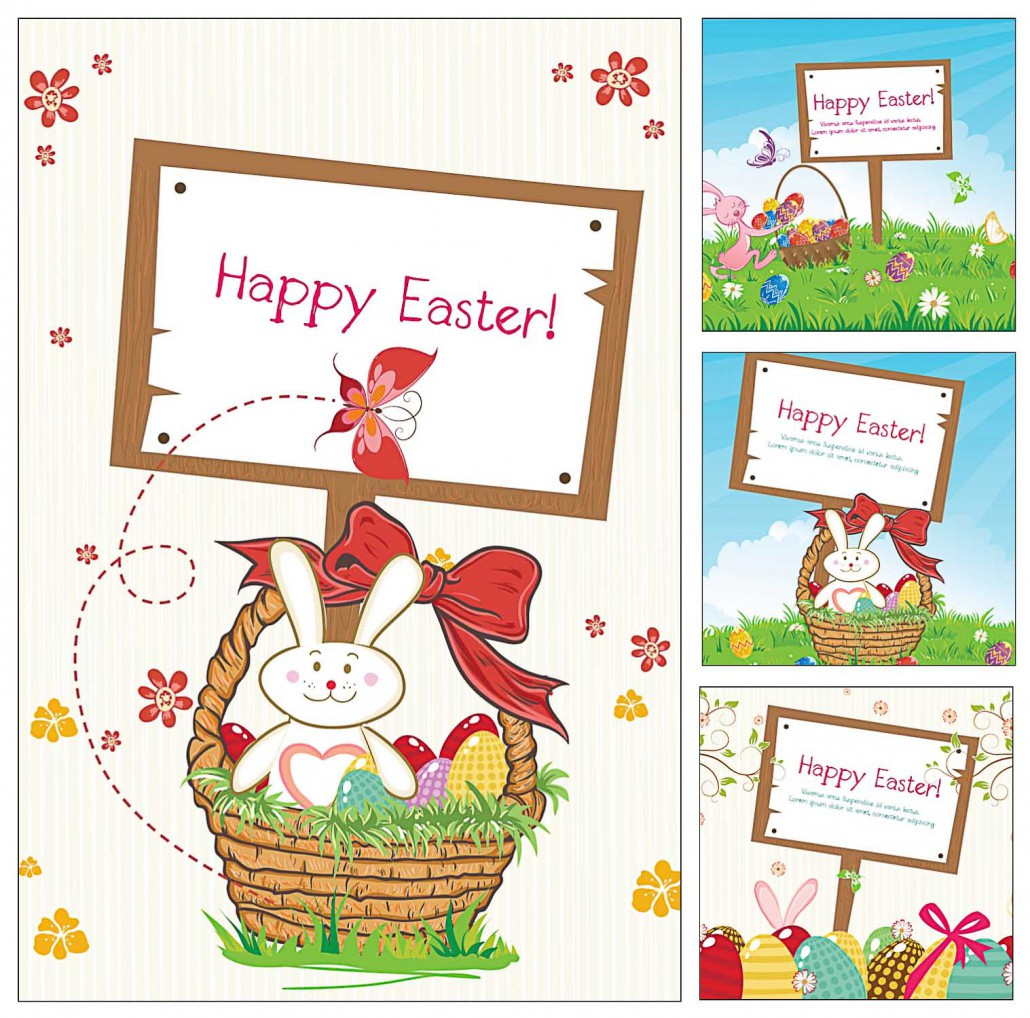 wonderful easter frame greeting card set vector