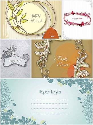 Modern Easter greeting card set vector
