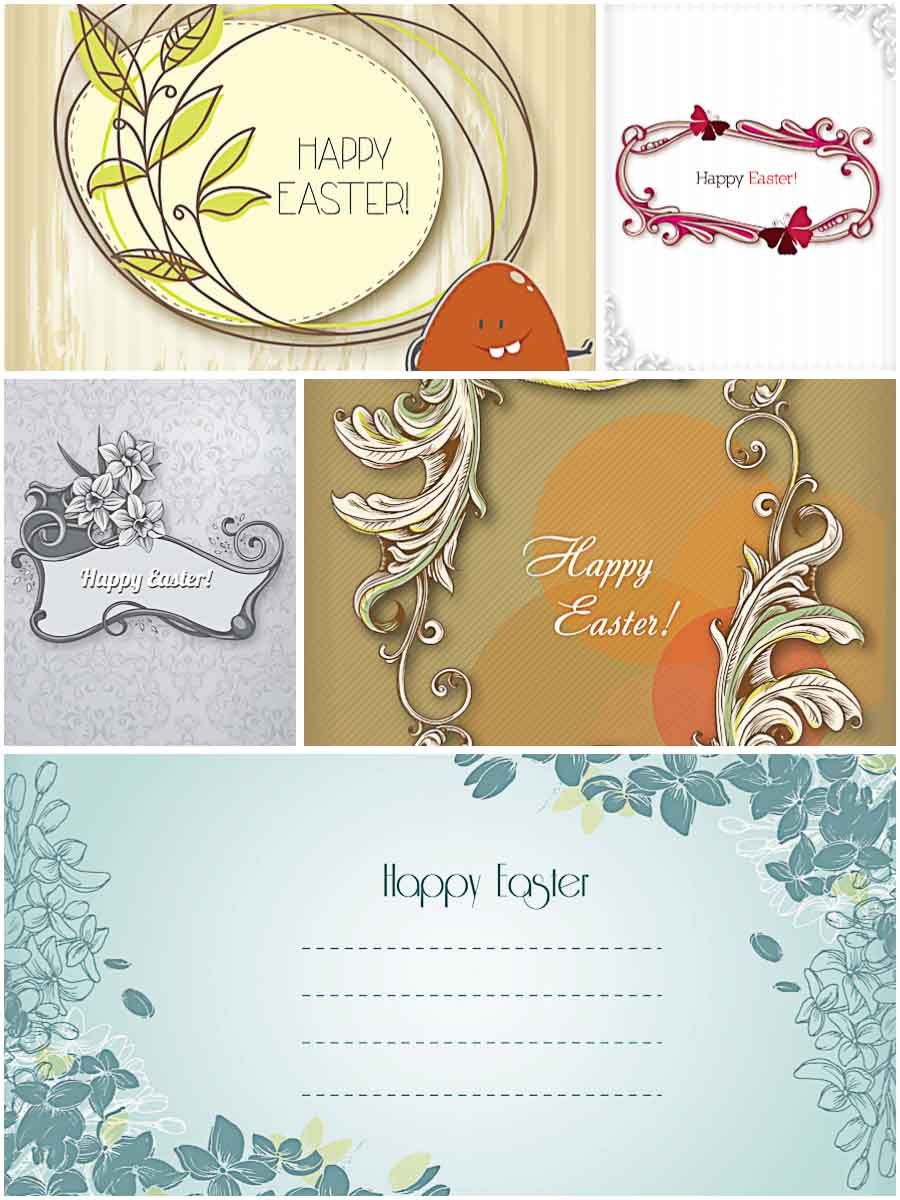 Modern Easter greeting card set vector