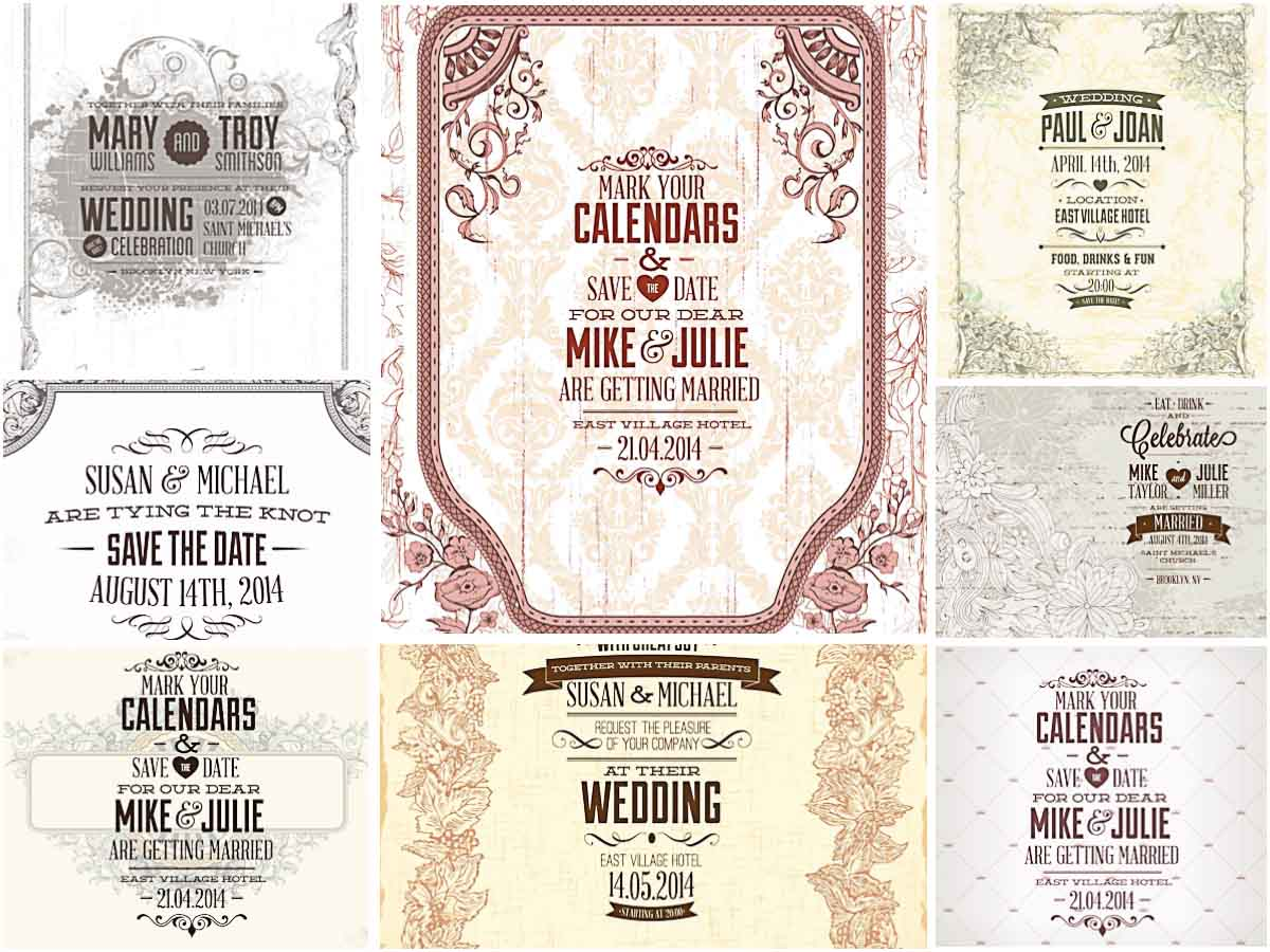Laconic graphic wedding invitations vector