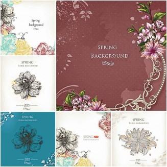 Ornate floral spring backgroun vector