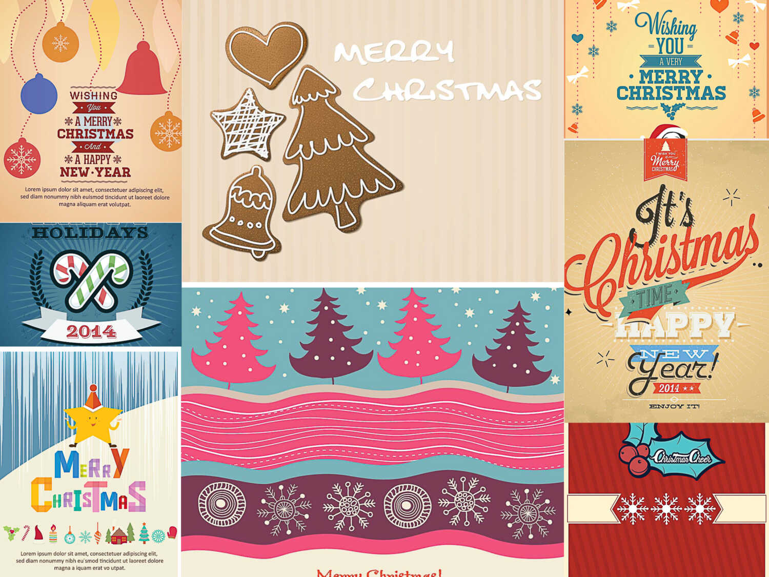Winter holidays greeting cards set of vectors