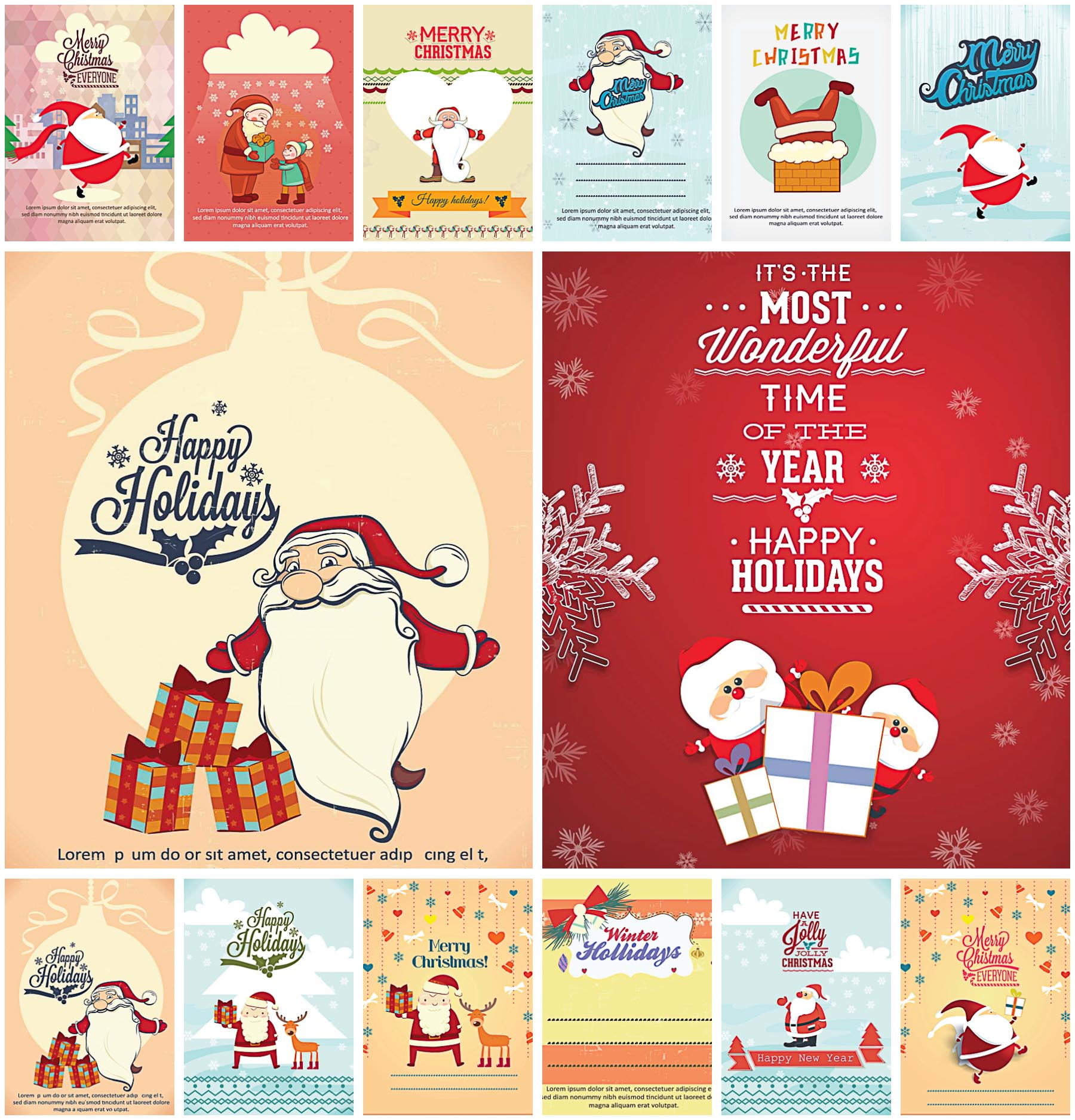 Bright Christmas card with Santa set vector