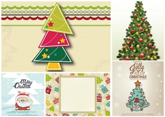Winter holiday tree elements set vector