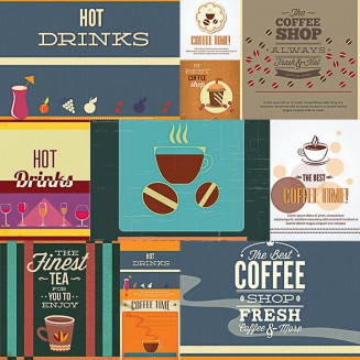Vintage coffee background set vector