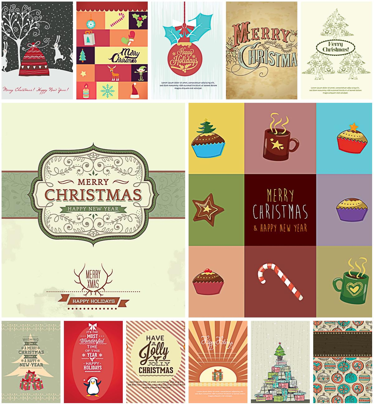 Retro winter holidays gift card set vectors