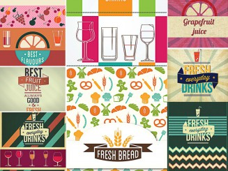 Menu designs fresh food set vector