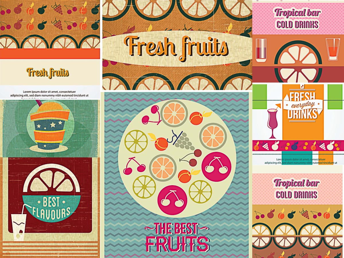 Citrus fruits menu set vector