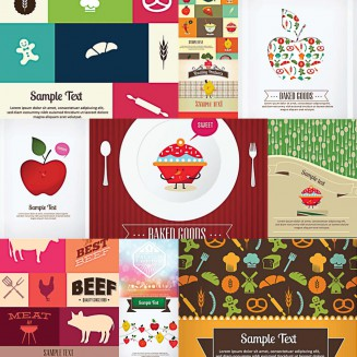 Bright badges with fresh fruits and vegetables set vector
