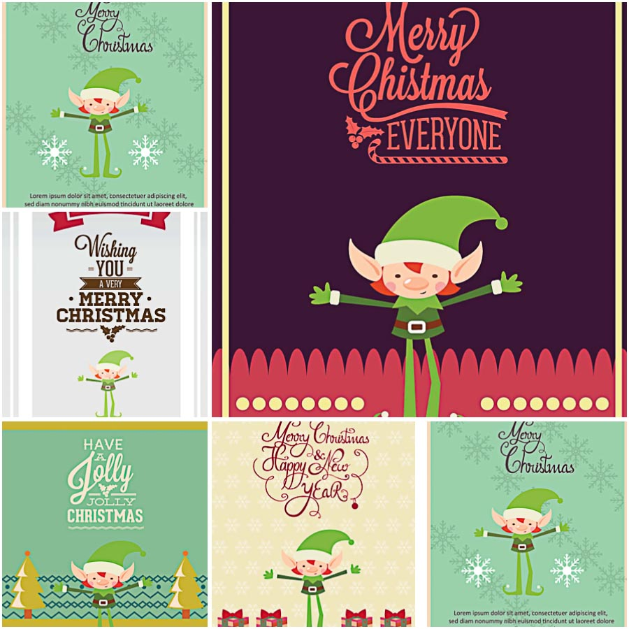 Christmas Elf greeting card vector