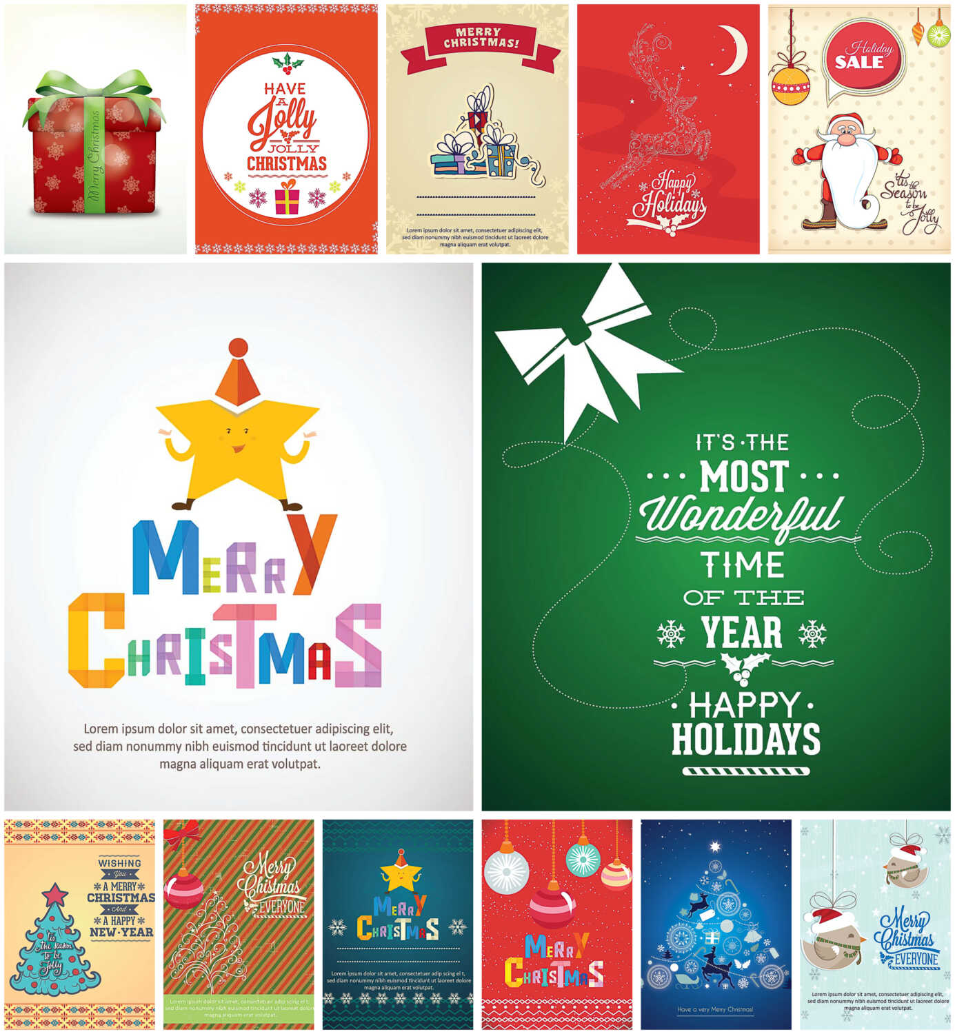 Merry Christmas giftcard set of vectors