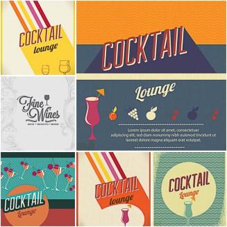 Cocktail lounge bar menu set vector