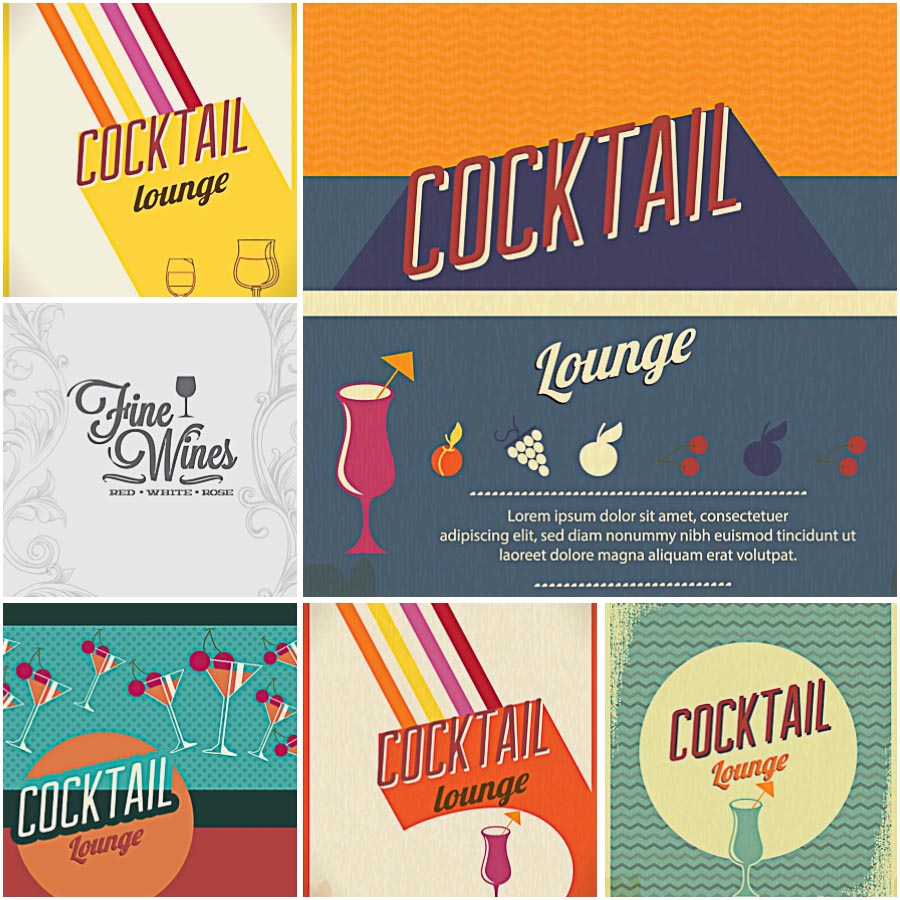 Cocktail lounge bar menu set vector