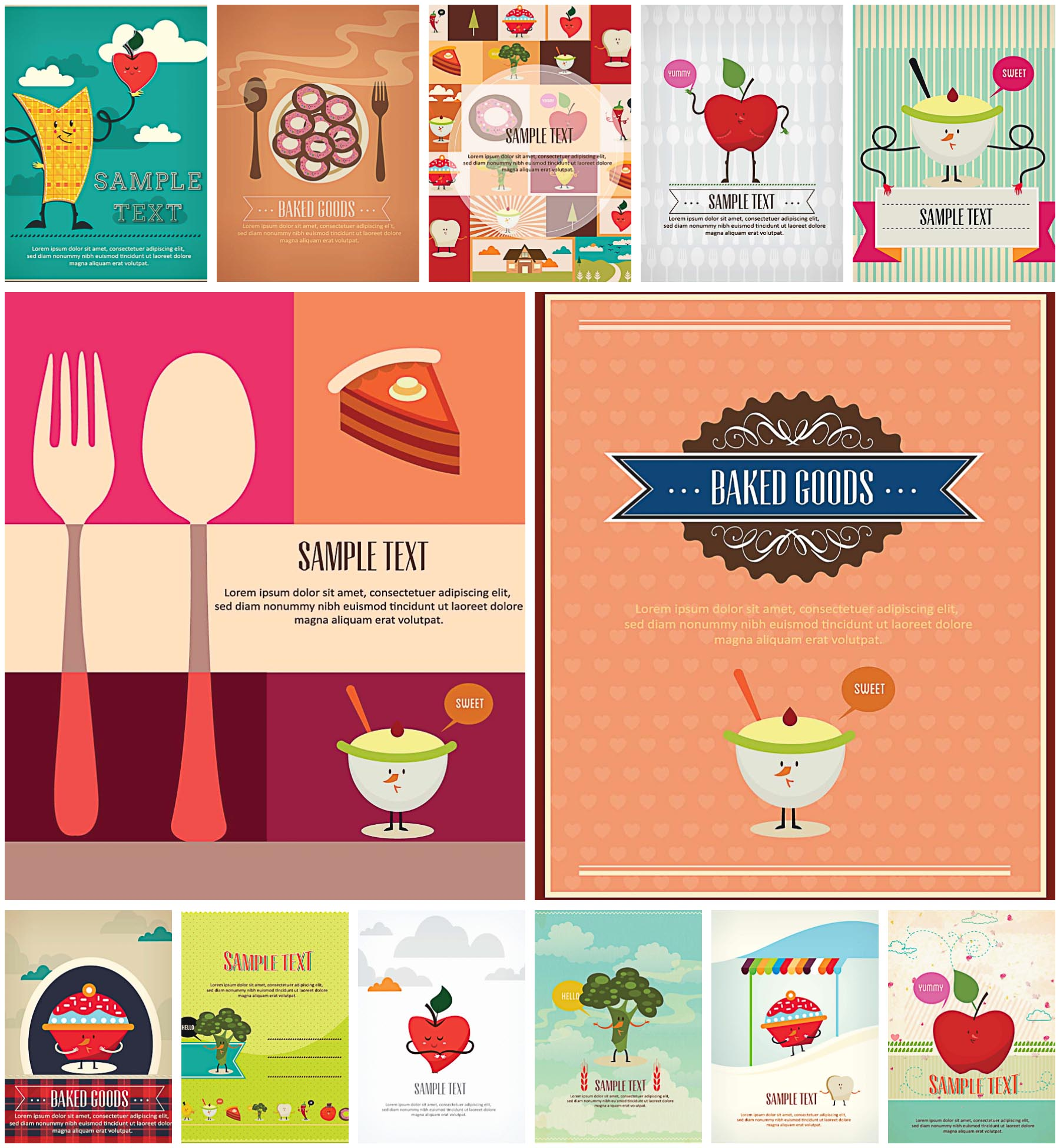 Cartoon restaurant free vector graphic download - Lovely Cartoon Vegetables And Fruits Menus