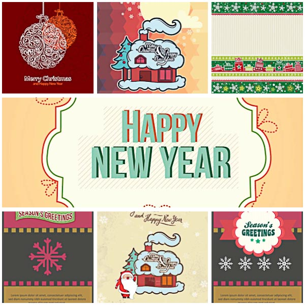 Modern New Year greeting card set vector | Free download