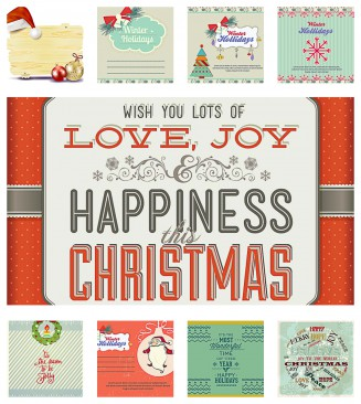 Cute winter holidays gift card designed set of vectors