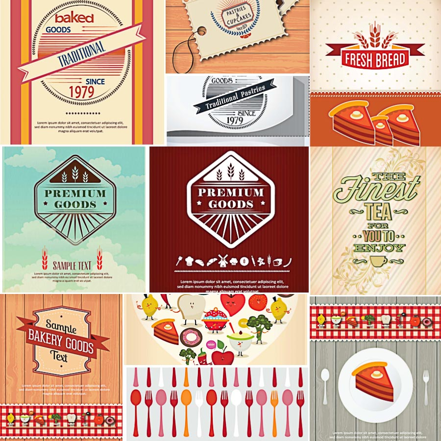 Food restaurant badges set vector