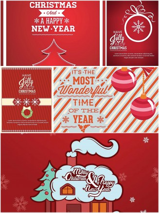 Christmas greeting card red and bright set vector