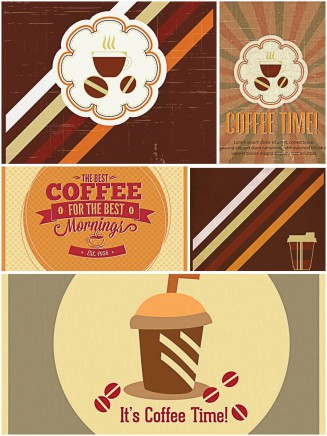 Vintage coffee and tea background set vector