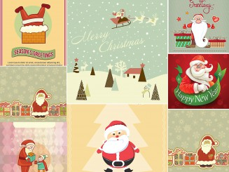 FunnySanta greeting cards set vector