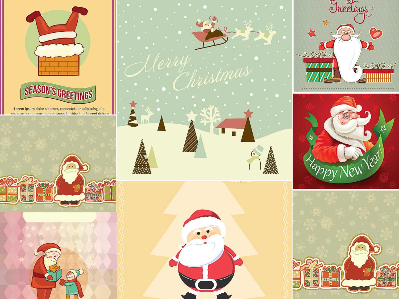 FunnySanta greeting cards set vector