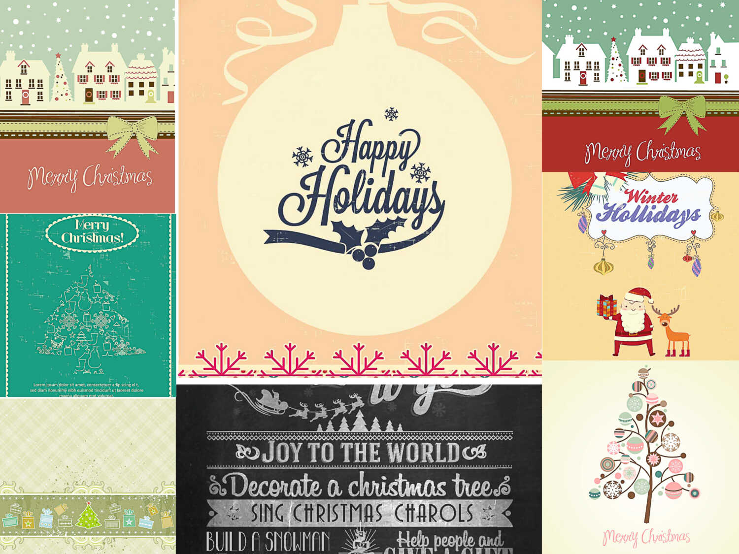 Retro greeting card lovely Christmas design set vector