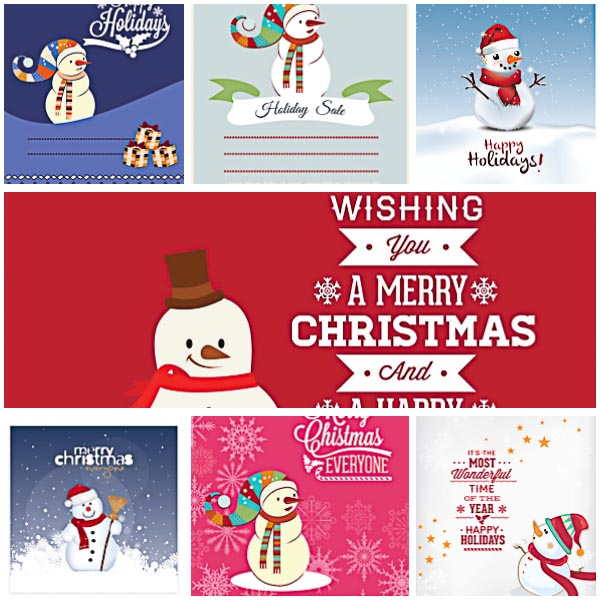 Christmas greeting cards with snow man set vector