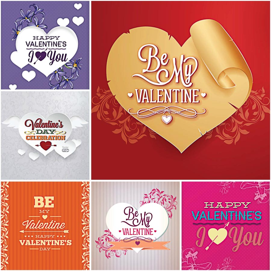 Sweet Valentines day postcards set vector