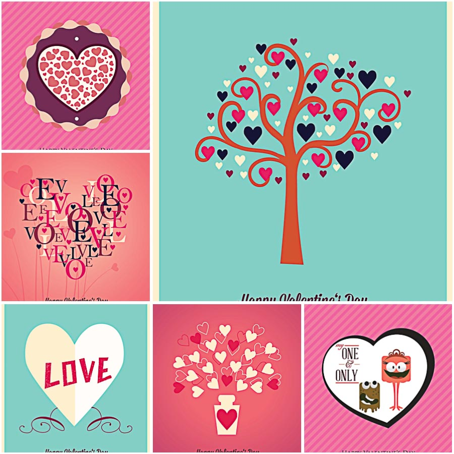 Vivid colors postcards for Valentines Day