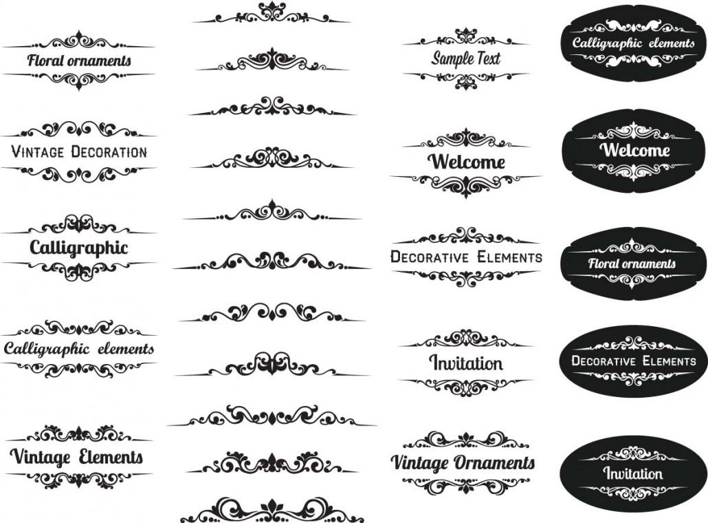 Calligraphic elements ornamental set vector free download