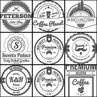 Labels and badges for shops set vector