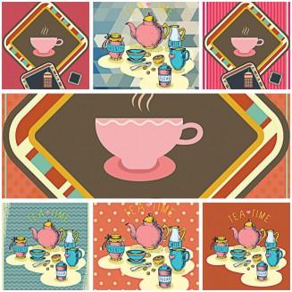 Coffee shop menu template girly set vector