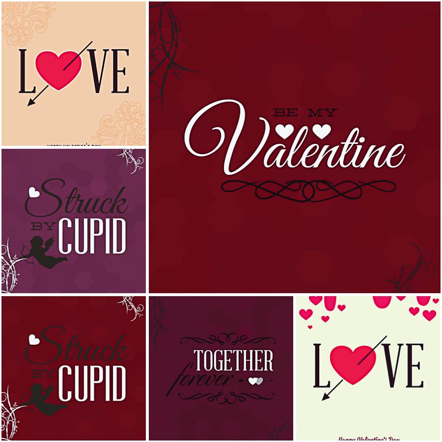 Hearts and Cupid Valentines Day postcard set vector