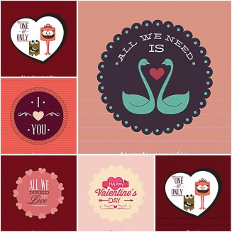 Bright and vivid Valentines Day postcards set vector