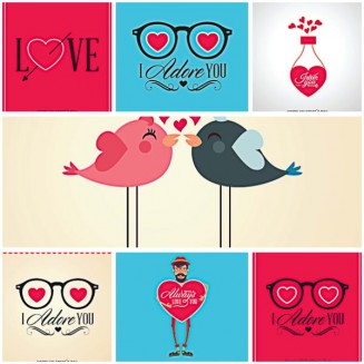 Lovely birds for Valenitnes Day postcard