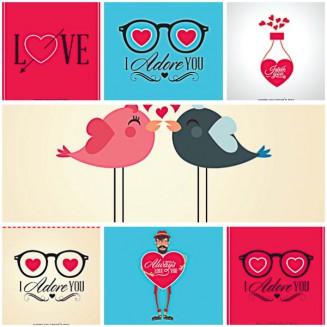 Lovely birds for Valenitnes Day postcard