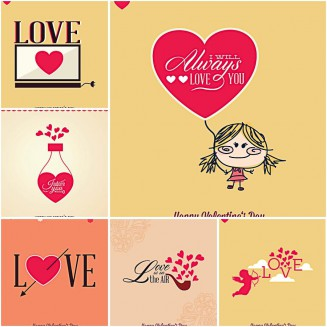 Lovely hearts and cupid set vector