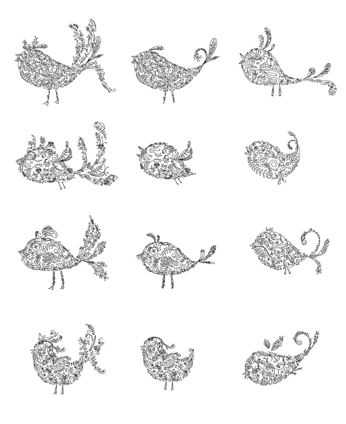 Ornate birds lovely set vector