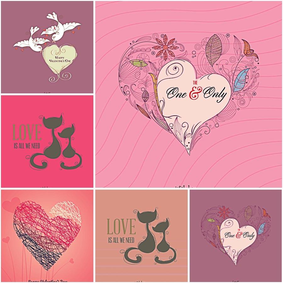 Lovely doodles for Valentine's Day set vector
