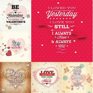 St.Valentine's Day romantic cards set vector
