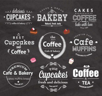 Girly bakery logos for cafe set vector