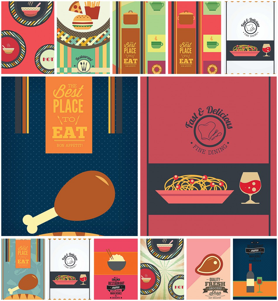 Fine Dining Menu Template Set Vector