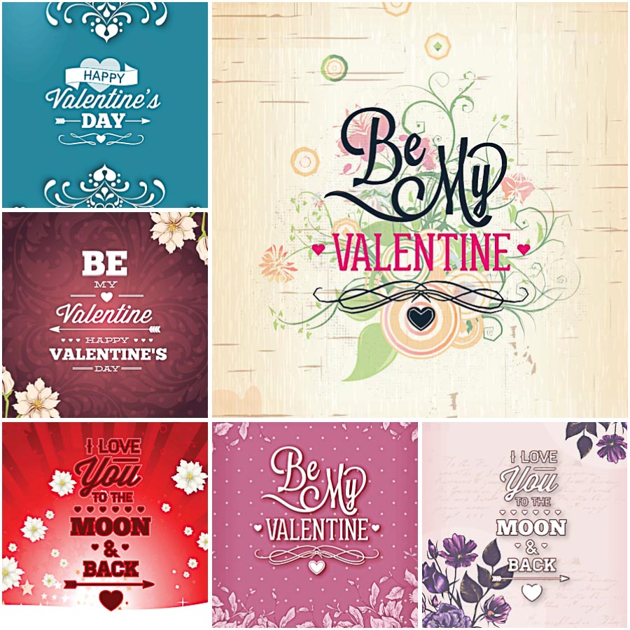 Romantic floral Valentine's Day cards set vector