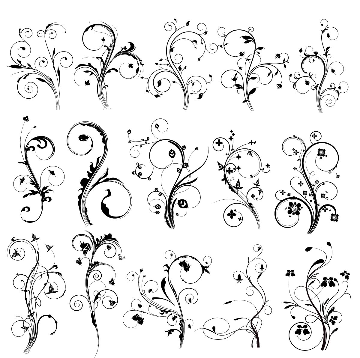 Decorative elements with floral swirls set vector