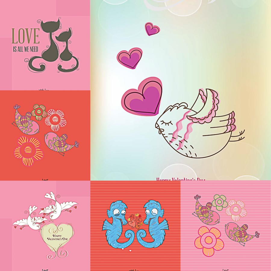 Cute doodles for St.Valentine's Day set vector