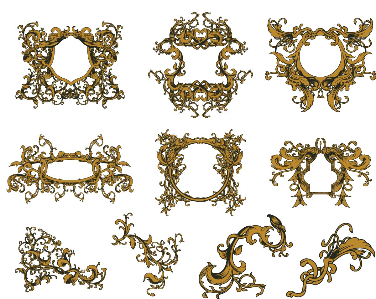 Antique gold frames set vector