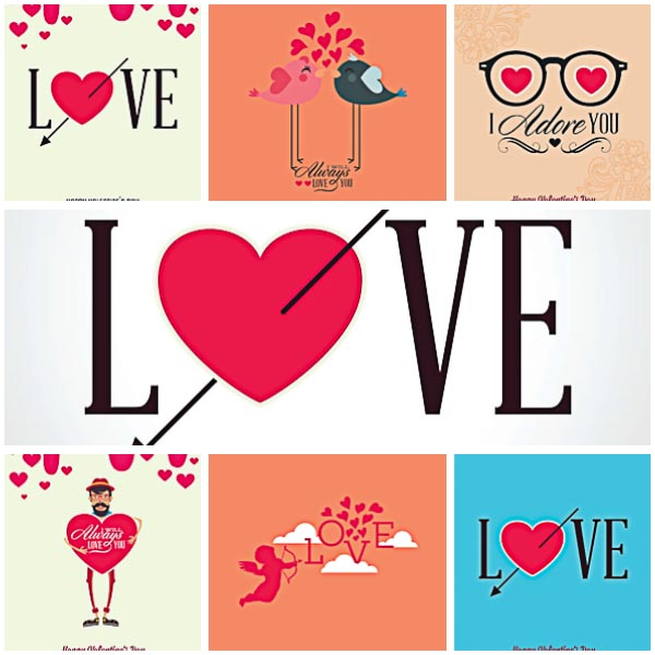 Modern Valentine's Day postcard set vector