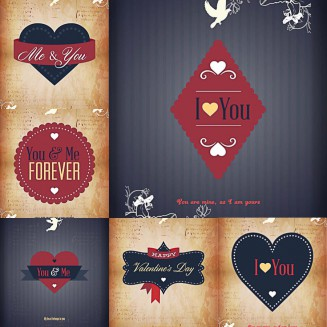 Postcards for Valentines Day with ribbons