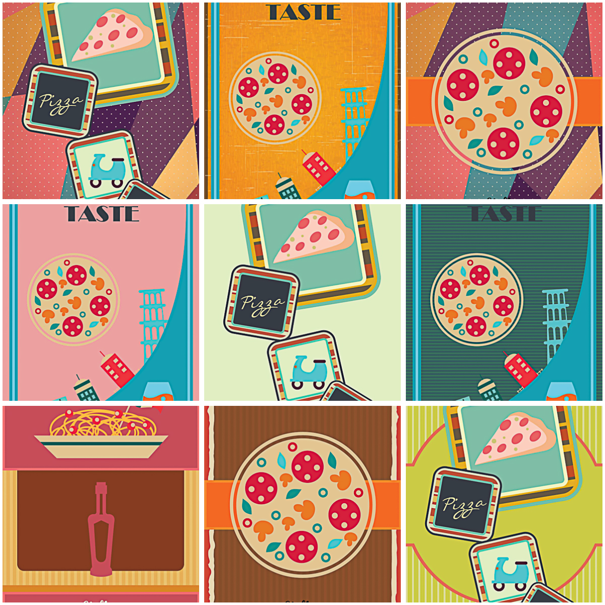 Italian pizzeria menu template lovely set vector