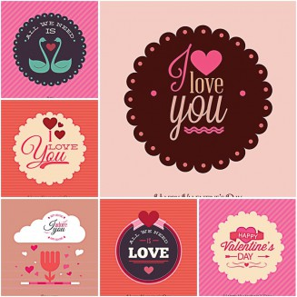 Modern postcard For Valentines Day set vector